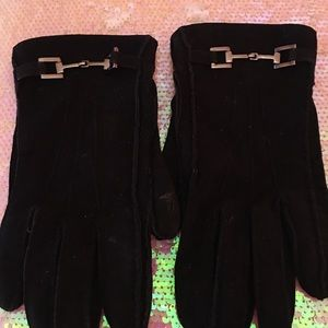 GUCCI BLK SUEDE GLOVES SILVER HORSE BITS 7 1/2
